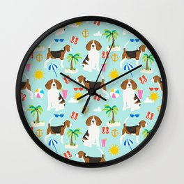 Beagles beagle pattern beach classic socal dog breed pattern palm trees tropical Wall Clock