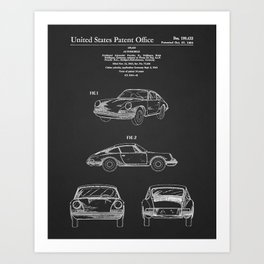 Blueprint car vintage patent Art Print