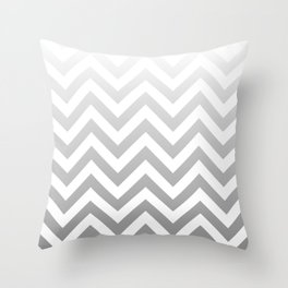 Silver Ombre Chevron Throw Pillow