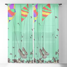 Flying Kites in May with May - shoes stories Sheer Curtain