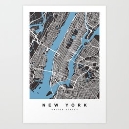 New York Map | Black & Blue Color  Art Print