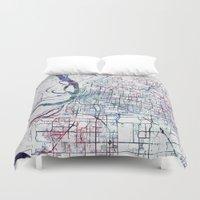 memphis Duvet Covers featuring Memphis map by MapMapMaps.Watercolors