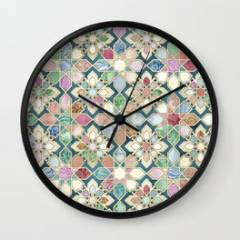 Muted Moroccan Mosaic Tiles Wall Clock