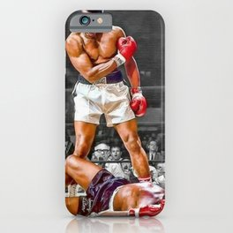 Mama Said I'm Gonna Knock You Out - Ali Knocks out Liston Boxing Portrait Painting oil on canvas iPhone Case