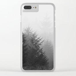 Foggy forest in black and white Clear iPhone Case