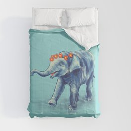 Cute Elephant In Blue With Wreath Of Flowers Comforters