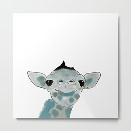Happy Baby Giraffe Metal Print