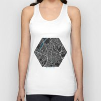 brussels Tank Tops featuring Brussels city map black colour by MCartography