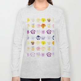 colorful pansies watercolor painting Long Sleeve T-shirt