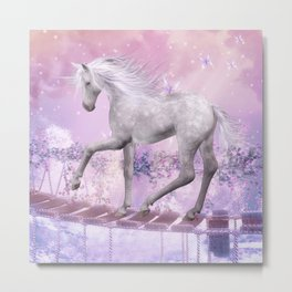 pink unicorn Metal Print