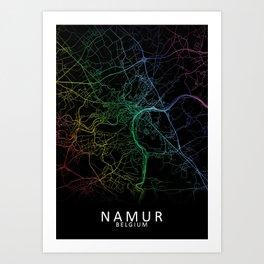 Namur, Belgium, City, Map, Rainbow, Map, Art, Print Art Print
