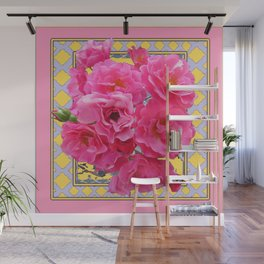 AWESOME PINK ROSES YELLOW-GREY LATTICE  DESIGN Wall Mural