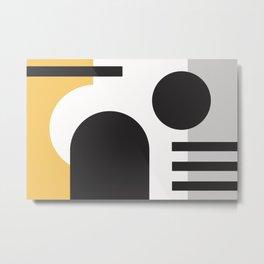 s-501-4, Black, Yellow & Grey, Bauhaus style, Modern Retro, Geometry design, Trendy boho decor Metal Print
