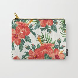 Tropical Leaf Flowers Carry-All Pouch