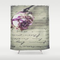 letter Shower Curtains featuring Love letter by Maria Heyens