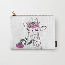 Giraffe, Giraffe with flower, animal, nature Carry-All Pouch