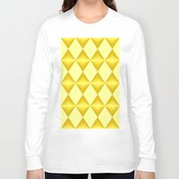 marina and the diamonds Long Sleeve T-shirts featuring Abstract golden diamonds  by Zenya Zenyaris