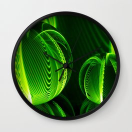 Lime lines in the glass balls. Wall Clock