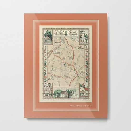 Bedford Village New York Map Print Metal Print