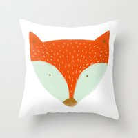 mr fox Throw Pillows featuring mr fox by Deerest Friends