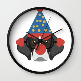 Black and White Dog Clown Face Halloween Wall Clock
