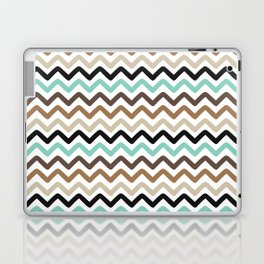 Aqua, Brown, and Black Chevron Stripes Laptop & iPad Skin