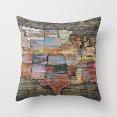 USA States Map Throw Pillow