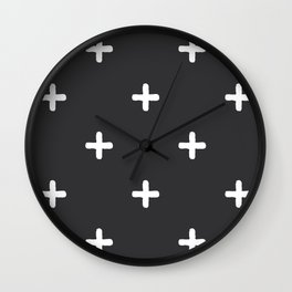 White Crosses on Charcoal Grey Wall Clock