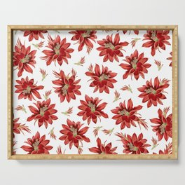 Red Christmas Cactus Flowers Floral Pattern Serving Tray
