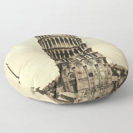 Vintage Leaning Tower of Pisa Photograph (1900) Floor Pillow