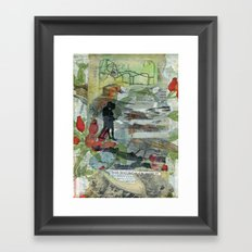 Birds on a Beach with Lovers, Eggs, and Flowers Framed Art Print