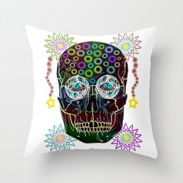 skull neon flowers Throw Pillow