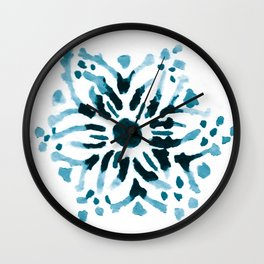 Teal Floral Watercolor Mandala Wall Clock