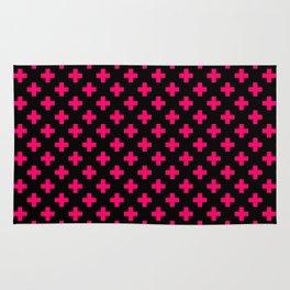 Hot Neon Pink Crosses on Black Rug