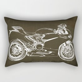 Motorcycle blueprint, Superbike 1299 Panigale, 2015,brown background, gift for men, classic bike Rectangular Pillow