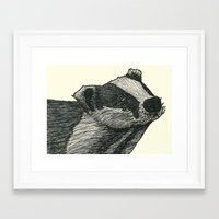 badger Framed Art Prints featuring Badger by Jack Kershaw