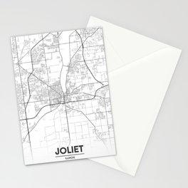 Minimal City Maps - Map Of Joliet, Illinois, United States Stationery Cards