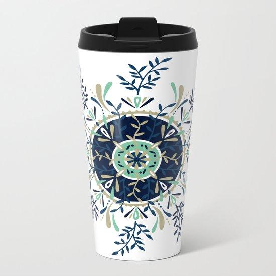 Leaf Mandala – Navy & Mint Palette Metal Travel Mug