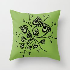 Abstract Floral With Pointy Leaves In Black And Greenery Throw Pillow