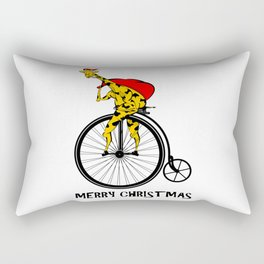 Giraffe on a bike Santa Claus Rectangular Pillow
