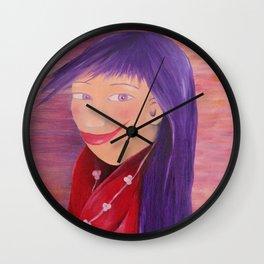 Girl. Purple hair. Portrait. Red. Violet. Purple. Wall Clock