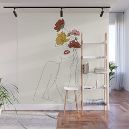 Colorful Thoughts Minimal Line Art Woman with Flowers Wall Mural