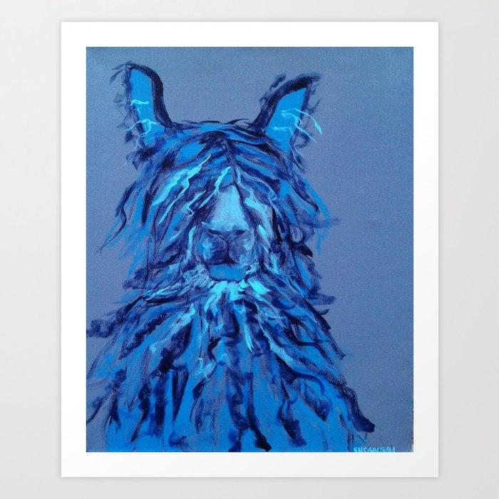 Blue Llama Painting Art Print