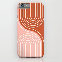 Geometric Lines in Terracotta Rose Gold 19 (Rainbow and Lines Abstraction) iPhone Case