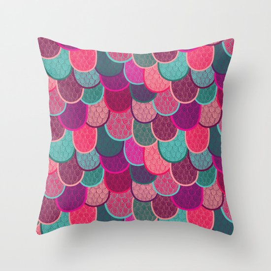 Fish Scales and Mermaid Tales Throw Pillow