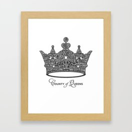 County of Queens | NYC Borough Crown (GREY) Framed Art Print