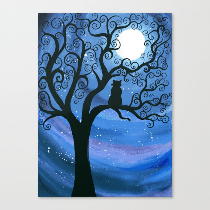 Meowing at the moon - moonlight cat painting Canvas Print