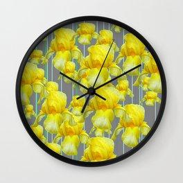 OODLES OF YELLOW IRIS GREY GARDEN ART Wall Clock