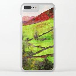 Green Grasmere Hillside, Ambleside, Lake District UK Clear iPhone Case