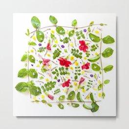 Leaves and flowers pattern (30) Metal Print